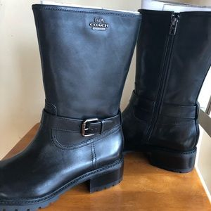 Coach black mid calf boots